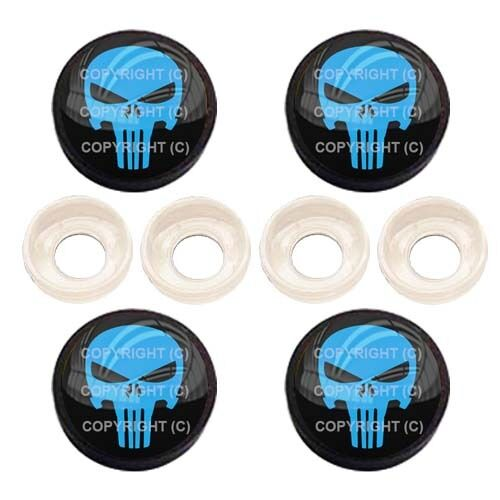 PUNISHER SKULL BC071 4 Black License Plate Frame Tag Screw Snap Cap Covers