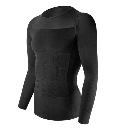 Men Boob Slimming Long Sleeve Body Shaper Tummy Shirt Muscle Belly Tight Control