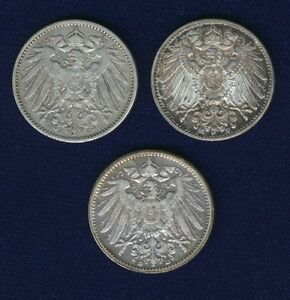 GERMANY EMPIRE 1 MARK SILVER COINS: 1905-D, 1907-J, 1914-F, LOT OF (3)