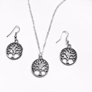 Tree Of Life Necklace Earring Set Nature Silver Coloured Velvet Gift Bag UK