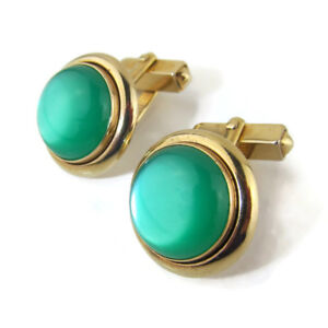 Swank-Cufflinks-Green-Moonglow-Cabochon-Signed-Vtg-Retro-Mens-Jewelry