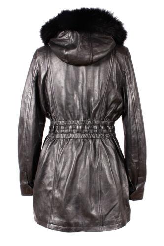 ALANA BLACK Ladies Hooded Fur Knee Length Real Lambskin Designer Leather Coat