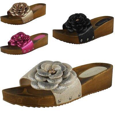 Nuevo Para Mujer Damas Slip On Flor mulas de talón bajo Sandalia Cuñas Zapatos Zapatillas Tamaño