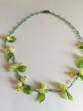 Vintage VENETIAN glass Murano Italy  FLOWER leaf YELLOW BIRD bead NECKLACE
