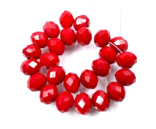 25 Faceted Siam Ruby glass Quartz Rondelle Beads 8x6mm