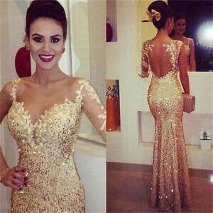 Gold-Mermaid-Formal-Pageant-Gown-Evening-Prom-Dresses-Long-Sheer-Sequined-Custom