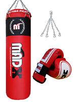 MADX 3 Piece Boxing Set 4ft Filled Heavy Punch Bag,Gloves,Chain Punchbag Kickbag