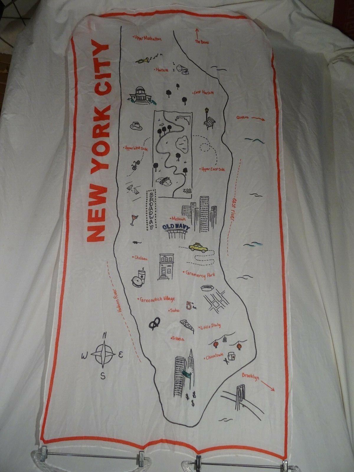"New York NEW Carol Newman /""City Scarf/"" 100/% Silk"