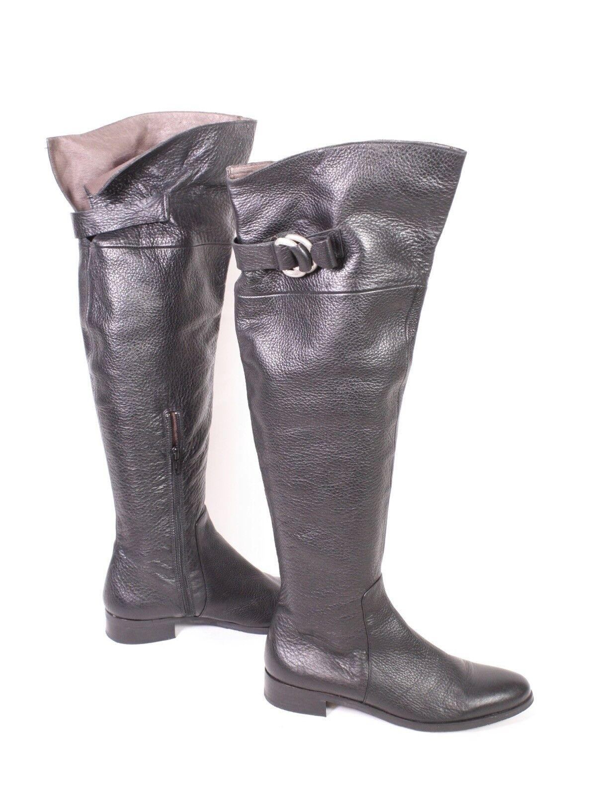 32 S Frida cuissardes cuir noir taille 37 plat paragraphe Cuir Doubleure