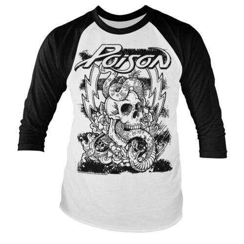 Officially Licensed Poison Tattoo Long Sleeve Baseball T-Shirt S-XXL