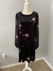 Ava & Viv Black Velvet Floral Dress with Mesh Sleeves Size 2X