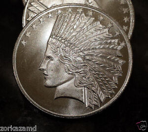 Qw1 1 Ounce Silver Round Of Indian Head Design 999