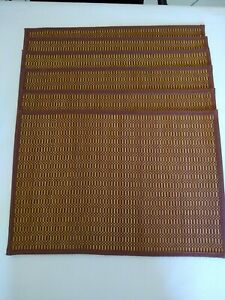 Placemats-set-of-6-Wooden-Woven-Rust-Colored-Pre-owned-19-034-x-13-034-Roll-up-easy