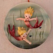 Vintage 50's Wall Hanging Girls Mermaids Lavender Merbaby 2 Mermaids