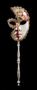 Maschera Veneziano Per Bastone Luna Musica Carnevale Gala Sera Rosso 1544 VG23