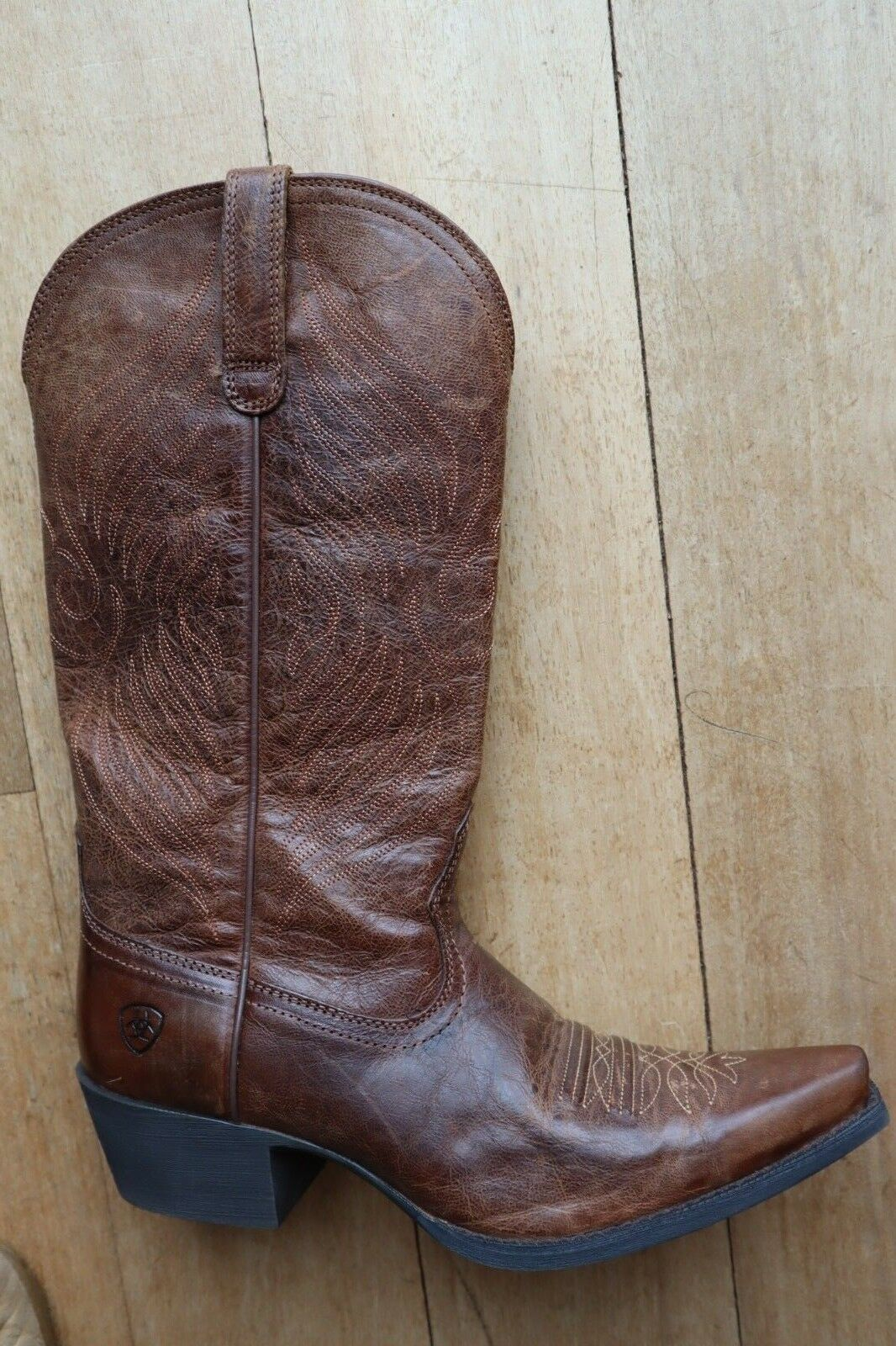 Dark Brown Leather Western Stitched Design Pull On Pointy Toe Boots 9 B