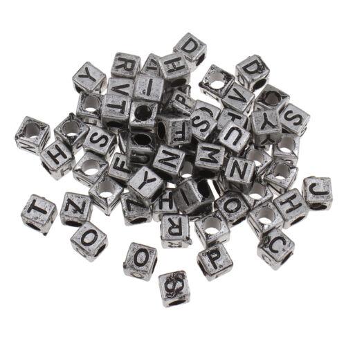150 Lettres Perles 6 mm Argent Plastique Lettre Acrylique Bijoux d100