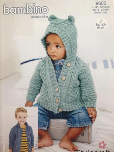 Stylecraft 9605 Knitting Pattern-vestes en Bambino DK