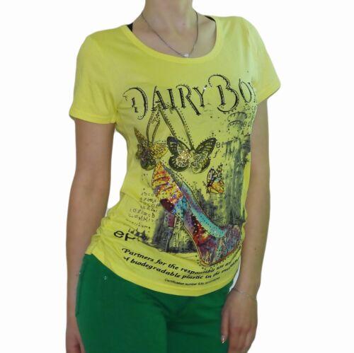 Damen Print Longtop Party T-Shirt Longshirt Top Strass Stretch Tunika T-Shirts