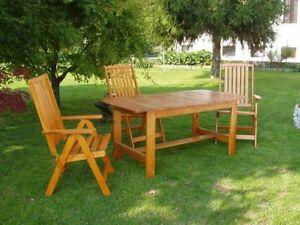 Set da giardino in legno 1 tavolo allungabile e 4 for Set giardino legno