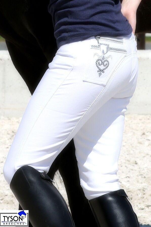 Jodhpurs Nina TournaHommest blanc Rhinestone Glitter Full Trim 36 38 40 42 44 Tysons blanc