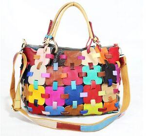"""WF"" Brand 2017 Special womens Genuine Leather Handbags Shoulder Bag Multi-Color"