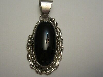 Sterling Silver Black Onyx Pendant Older Zuni Native American Looking Pendant Nice Piece Solid 925 Real Black Onyx Pendant