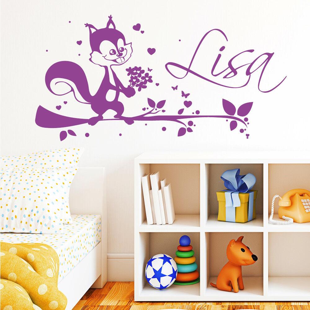 10703 10703 10703 Muro Tatuaggio Adesivi Loft scoiattoli AST ALBERO FIORI CUORE nome desiderio 610760