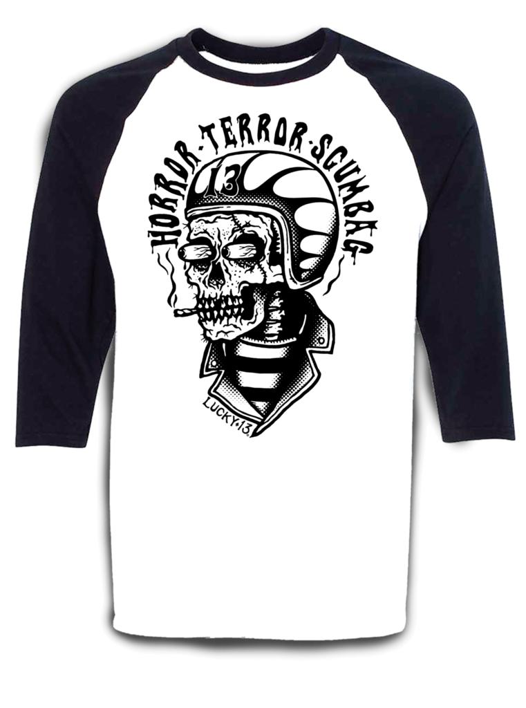 Lucky 13 Shirt Herren 3 4 Ärmel Baseball T-Shirt Drecksack Totenkopf Tattoo Hot