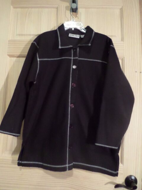 Extra Touch Ladies 1X Black shirt jacket button front