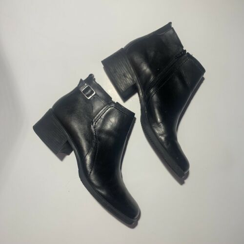 Dockers Square Toe Leather Ankle Boots Black 9.5 W