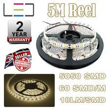 5m 24v Warm White LED Strip Light 5050 300SMD 16LM/SMD 60SMD/m Bright Waterproof