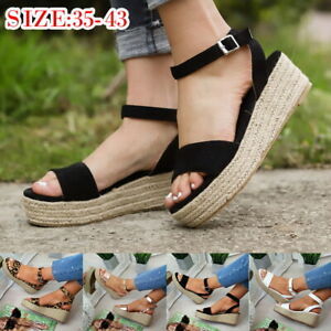 Mode-Femmes-Plate-forme-Sandales-Espadrille-Mode-Compensees-Chaussures-Plage-25