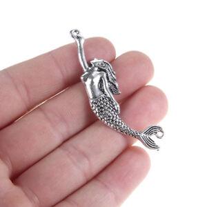 10x-Vintage-silver-Mermaid-Charm-Connecteur-55-15mm-A-faire-soi-meme-Collier-Bracelet-Making