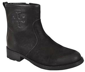 fc905ccecdc6 Image is loading NEW-Tory-Burch-Simone-Black-Distressed-Leather-Ankle-
