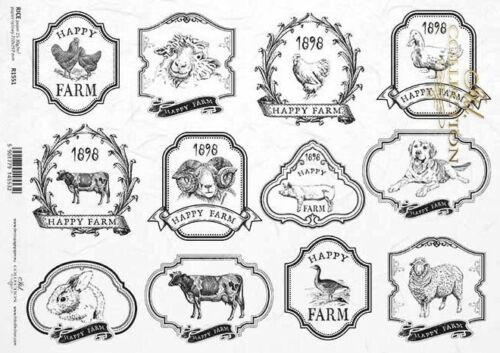 Reispapier-Motiv Strohseide-Decoupage-Vintage-Farm-Country-R1551