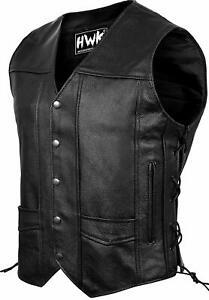 Leather Motorcycle Vest For Men Black Classic Vintage Club Riding Biker Vests