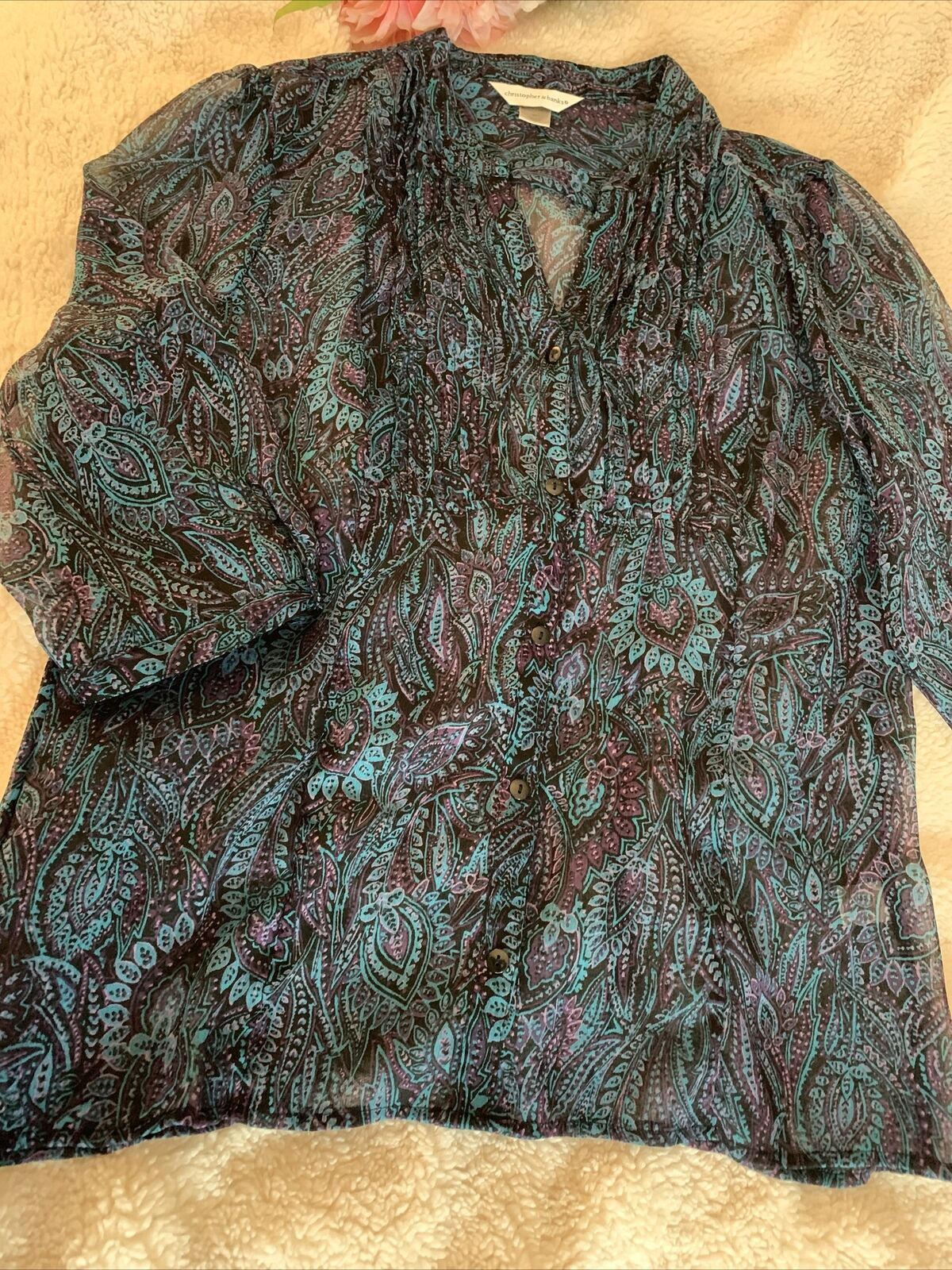 Christopher and banks women's blue paisley blouse… - image 11