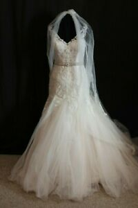 NWT-Justin-Alexander-3978-Champagne-bridal-gown-matching-veil-Size-12-Sincerity