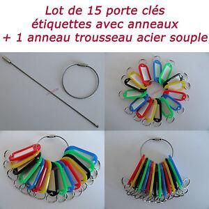 LOT-DE-15-PORTE-CLES-PLASTIQUE-ETIQUETTES-D-039-IDENTIFICATION-1-ANNEAU-TROUSSEAU