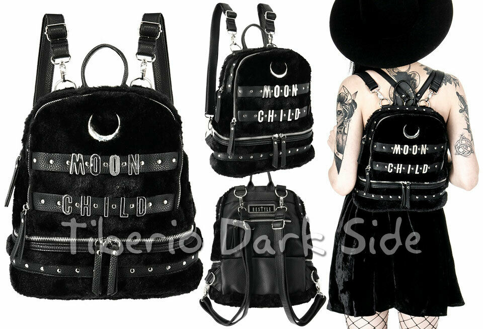 RESTYLE Moon Child Metal Letters Black Plush Occult Nu Goth School Bag...