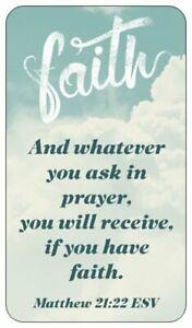 Details about 15 Christian Prayer Cards FAITH Bible Scripture Verse Matthew  21:22 ESV