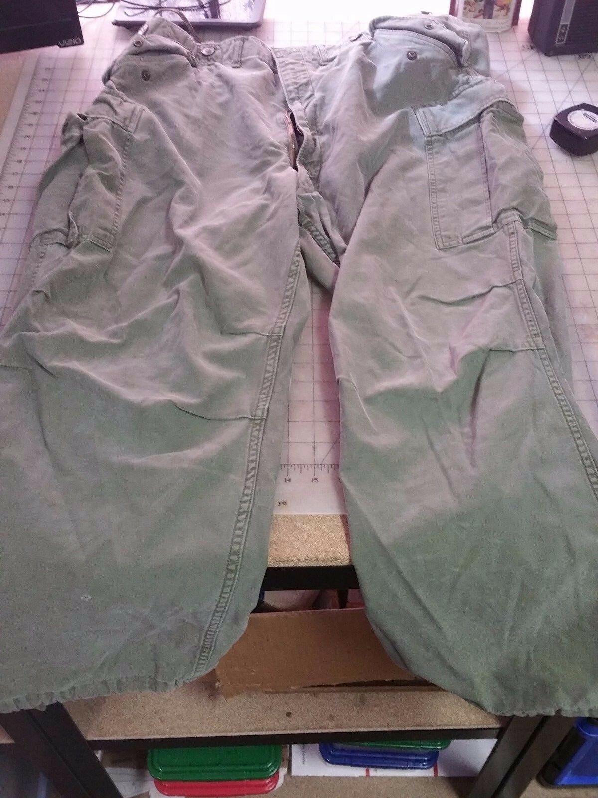 VINTAGE PANTS 60's Military TROUSERS - Size Regular Large