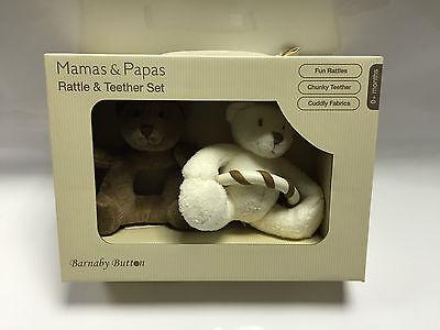 MAMAS PAPAS BABY BARNABY BEAR//BUTTON RATTLE TEETHER SET BNIB NEW IN BOX