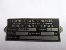 Typenschild  ID-plate Hans Glas goggo roller Schild S22