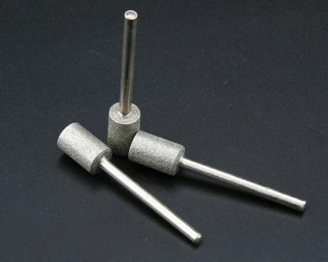 PKG//10 6mm Diamond Chainsaw Sharpening Rotary File Burrs Shank dia 3mm M/_M/_S