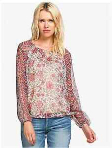 Lucky-Brand-Women-039-s-M-NWT-59-Pink-Multi-Floral-Chiffon-Keyhole-Peasant-Blouse