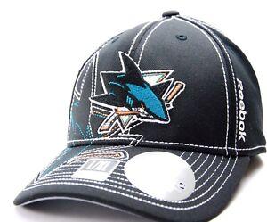 ba1fedf778c San Jose Sharks Reebok M250Z NHL Pro Draft Flex Fit Hockey Cap Hat L ...