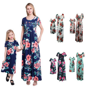 b47ccde7 Details about Mother and Daughter Matching Floral Maxi Dress Mommy&Me  Outfit Family Clothes