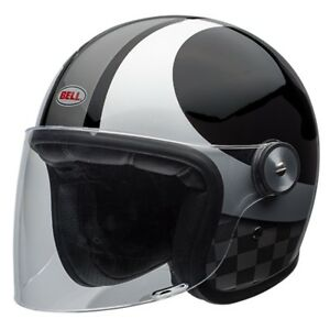 Bell-Riot-Motorcycle-Helmet-Checks-Black-Silver-All-Sizes